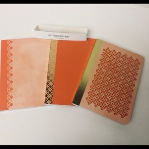 ANTHROPOLOGIE SET OF 3 NOTEBOOKS CORAL GOLD NWT